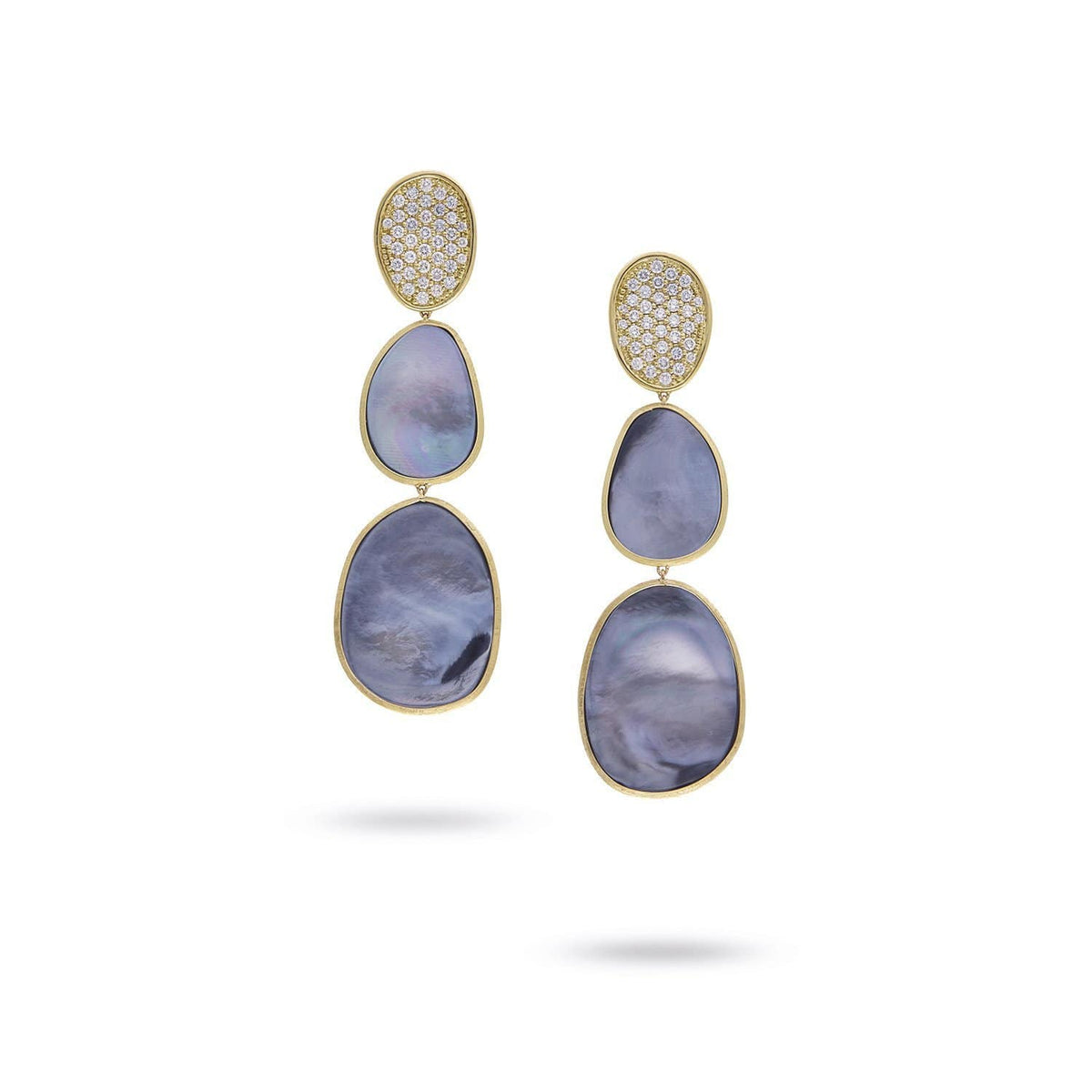 Lunaria Yellow Gold Black Mother of Pearl & Diamond Pave Triple Drop Earrings