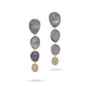 Lunaria Black Mother of Pearl with Diamond Pave Large Drop Earrings