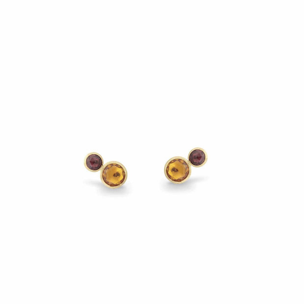 Jaipur Two Stone Stud with Citrine and Pink Tourmaline