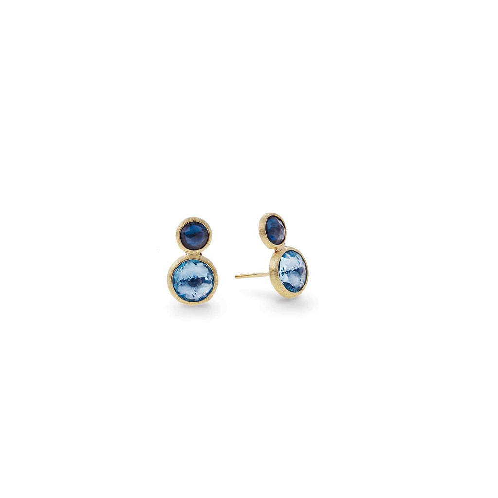 Jaipur Mixed Blue Topaz Two Tone Stud