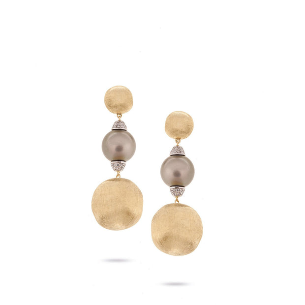 Unico Africa Gold with Pearl and Diamond Drop Earrings