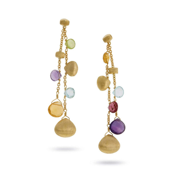 Paradise Mixed Stone and Gold Teardrop Double Strand Earrings
