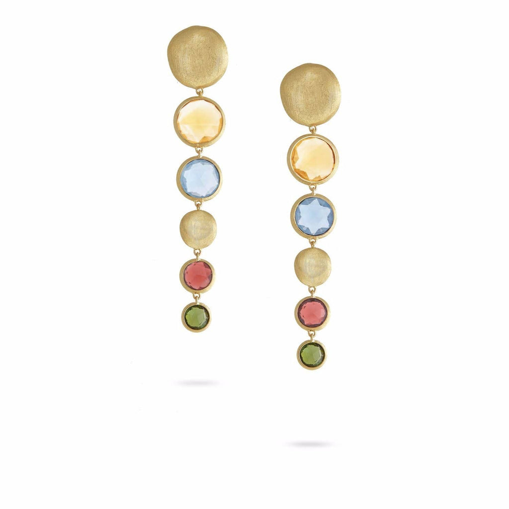 Jaipur Bold Mixed Gemstone Graduated Drop Earrings