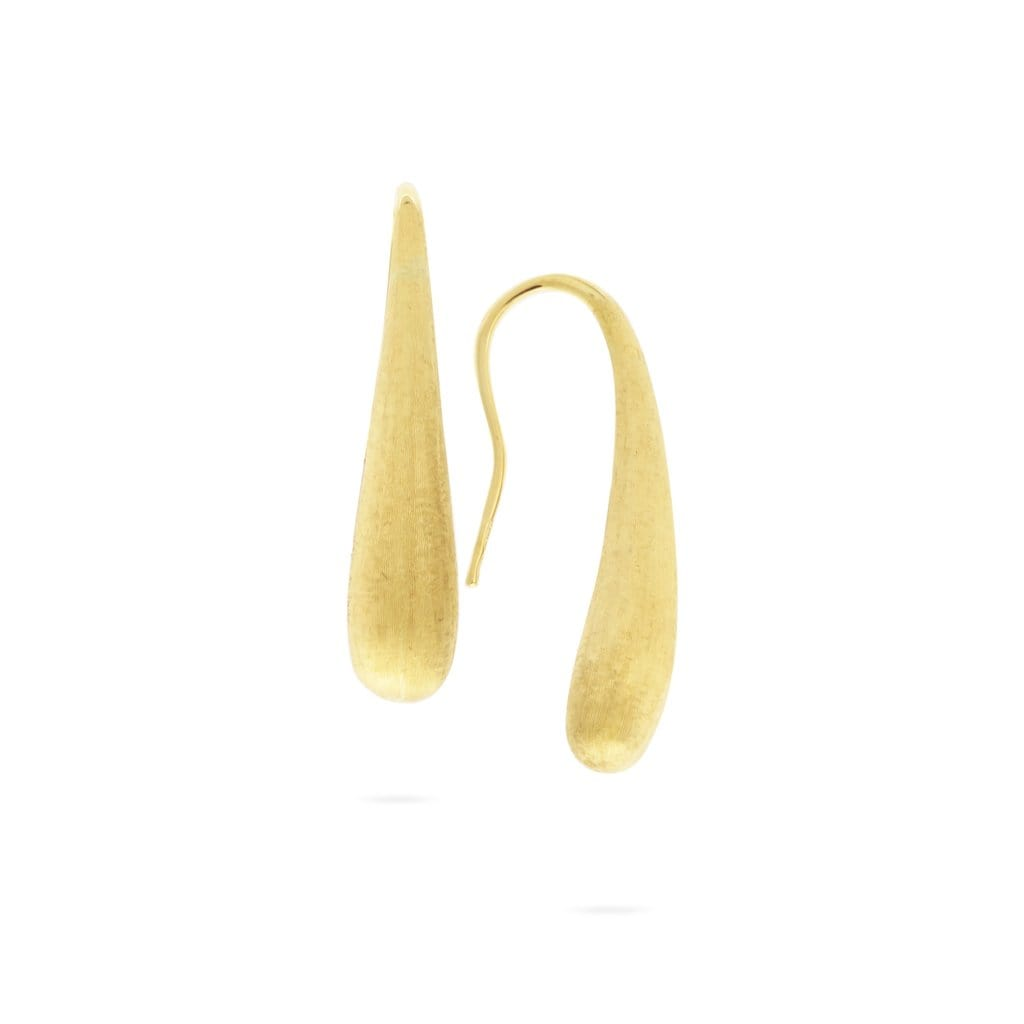 18K Yellow Gold Modern Teardrop Earrings