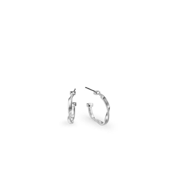 Marrakech White Gold Petite Hoop Earrings