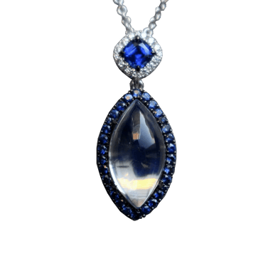 Moonstone, Sapphire, and Diamond Dore Pendant