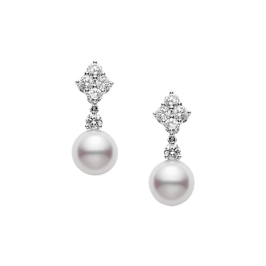 Akoya Pearl and Diamond Classic Drop Earrings