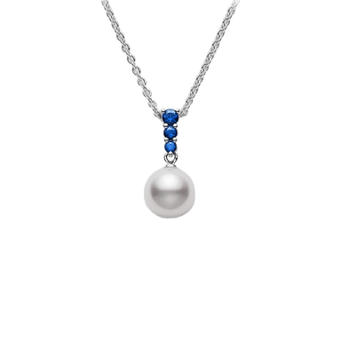 Morning Dew Akoya Pearl and Blue Sapphire Necklace