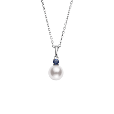 Akoya Pearl and Blue Sapphire Everyday Essentials Pendant