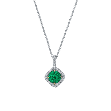 Emerald and Diamond Dore Halo Pendant