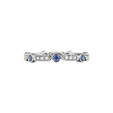 Blue Sapphire and Diamond Round and Bar Band