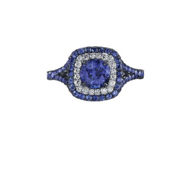 Cushion Blue Sapphire Double Halo Ring