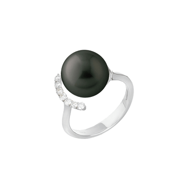Timeless Black South Sea Pearl and Diamond Ring