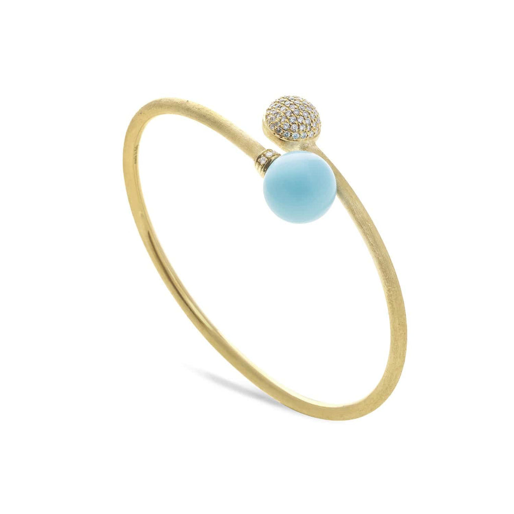 Africa Turquoise Yellow Gold with Diamond Pave Kissing Bangle
