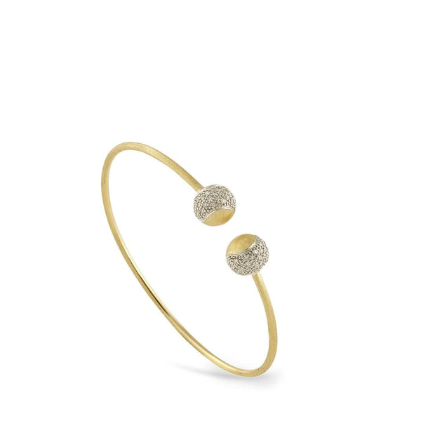 Tennis Gold and Diamond Pave Kissing Bangle