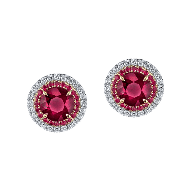 Ruby and Diamond Duet Stud Earrings