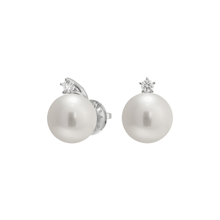 Timeless Pearl and Diamond Stud Earrings