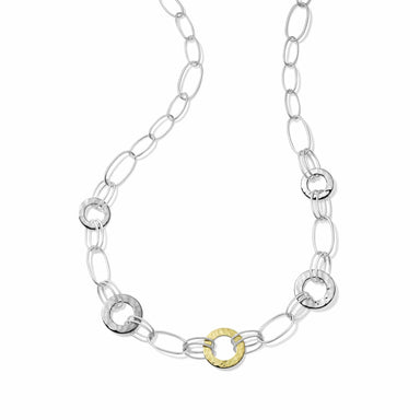 Chimera Classico Mixed Wire & Hamm ered Disc Necklace