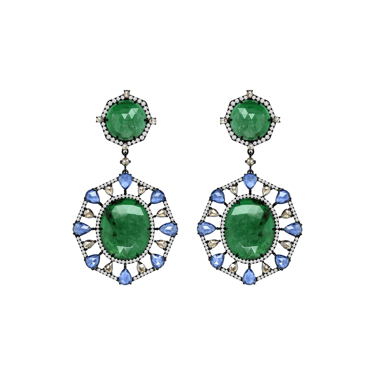 Emerald, Sapphire, and Diamond NWL Earrings