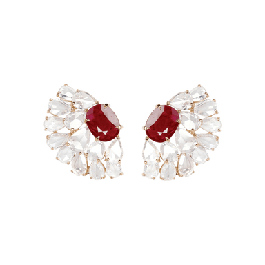 Ruby and Diamond New World Line Earrings