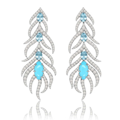 Jewels Turquoise and Diamond Feather Earrings
