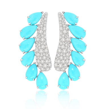 Jewels Turquoise and Diamond New World Line Earrings