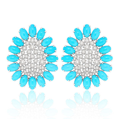 Jewels Turquoise and Diamond Scintillae Collection Earrings