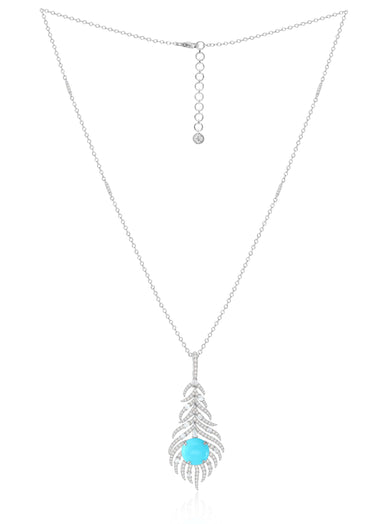 Jewels Turquoise and Diamond Feather Pendant