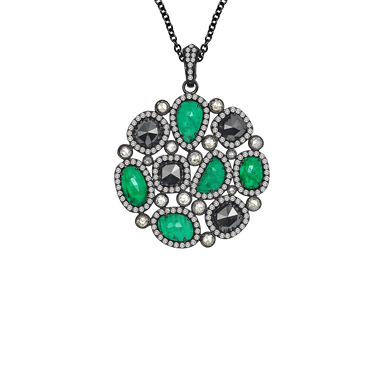Emerald Diamond Nwl Pendant on Diamond Station Chain