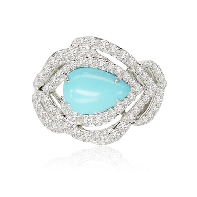 Jewels Turquoise and Diamond Feather Ring