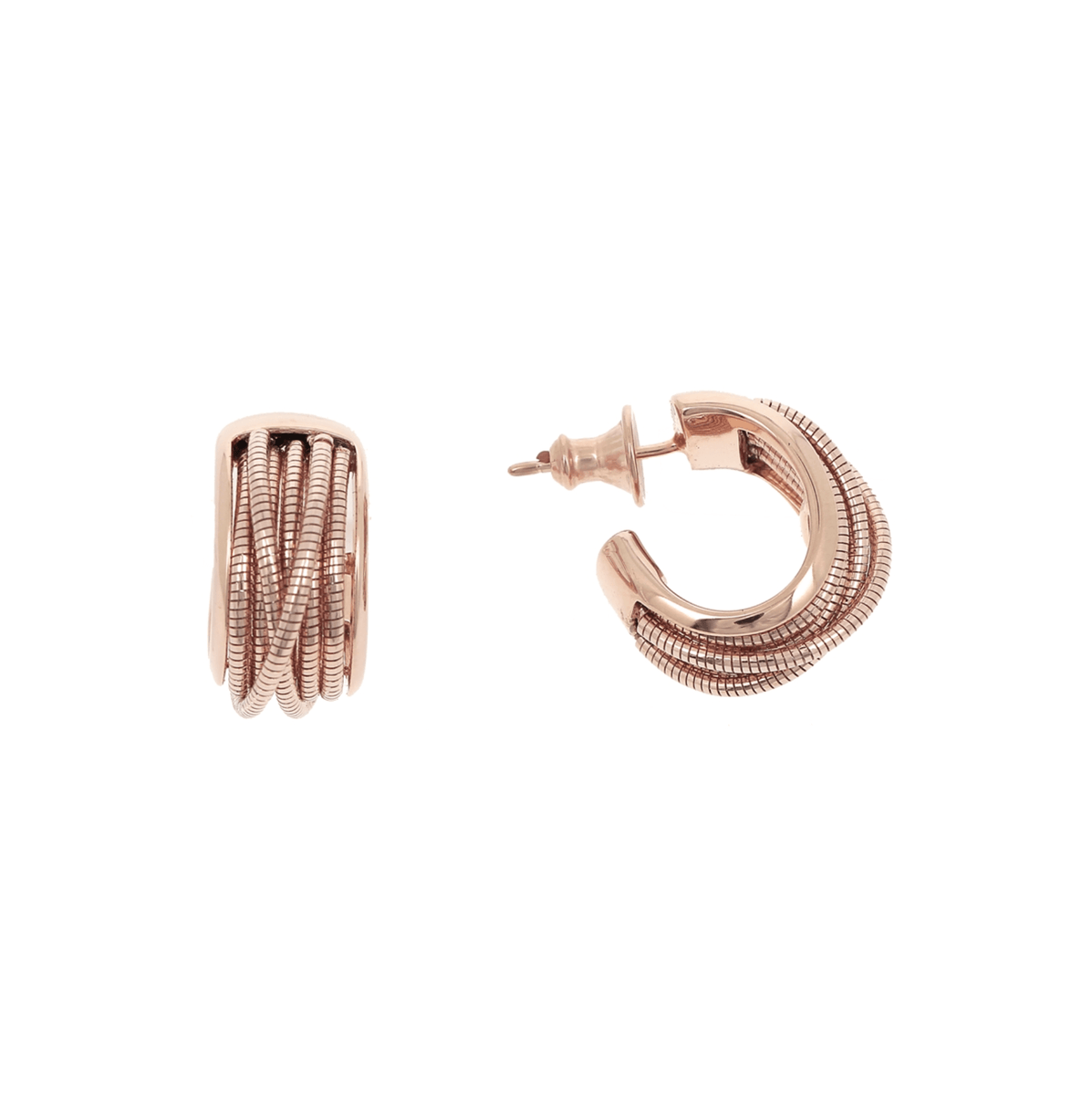 DNA SPRING HUGGIE EARRINGS - ROSE GOLD