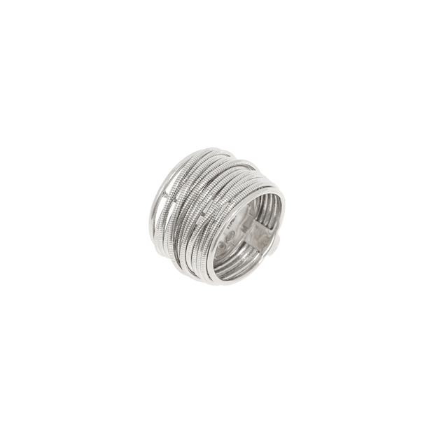 WIDE DNA SPRING RING- RHODIUM