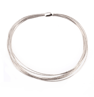 DNA SPRING THIN NECKLACE - RHODIUM