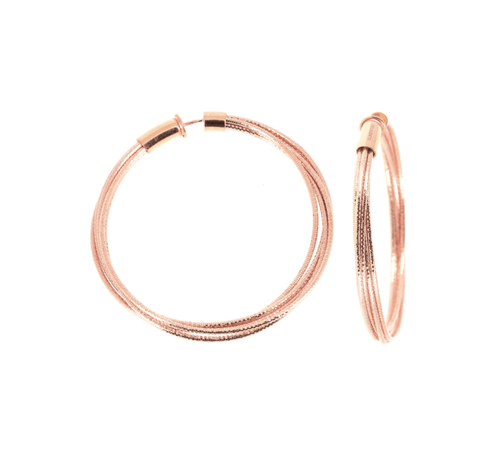 DNA SPRING MEDIUM HOOP EARRINGS - ROSE GOLD