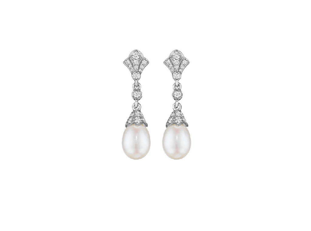 DIAMOND ANDPEARL DROP EARRINGS