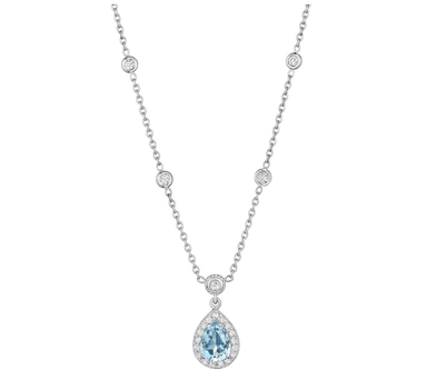 DIAMOND & PEAR SHAPE AQUAMARINE NECKLACE