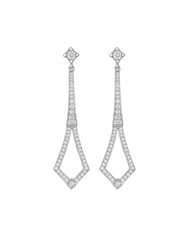 DIAMOND PAVÉ LONG DECO EARRINGS