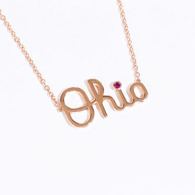 Limited Edition 14K Rose Gold Script Ohio Necklace