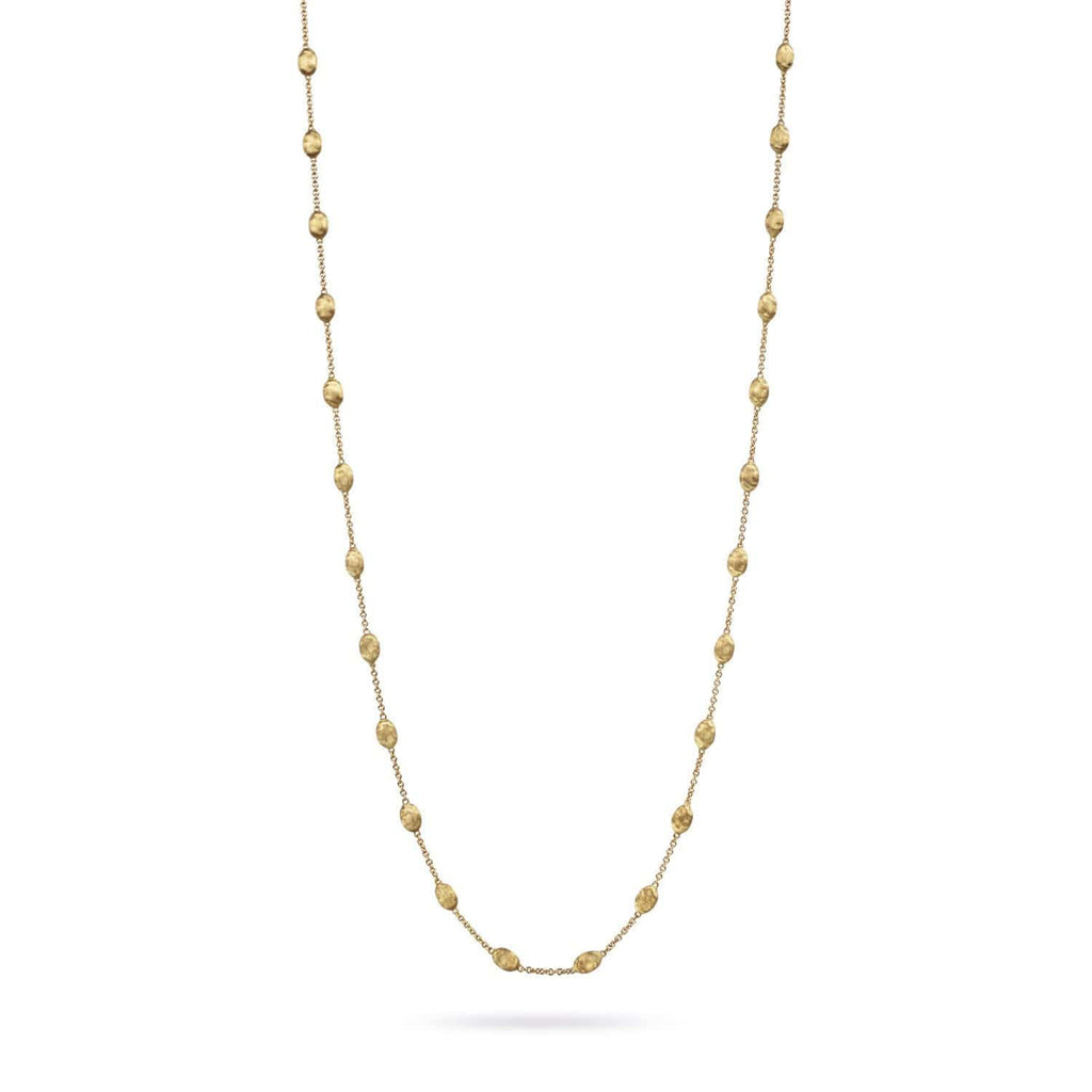 18K Gold Small Bead Long Necklace