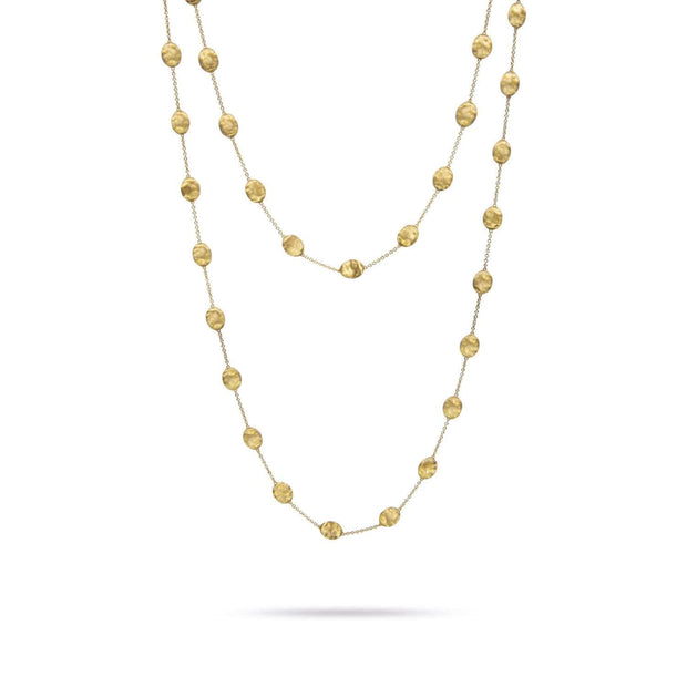 18K Gold Large Bead Long Necklace