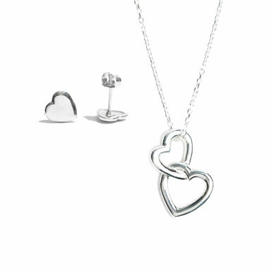 Double Heart Pendant & Heart Stud Set