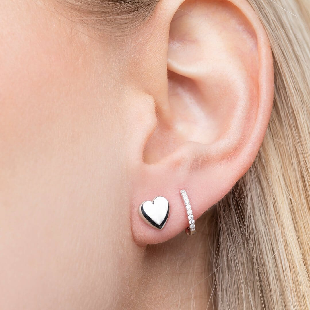 14K White Gold Heart Earrings