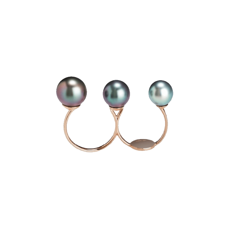 Black South Sea Pearl Double Ring