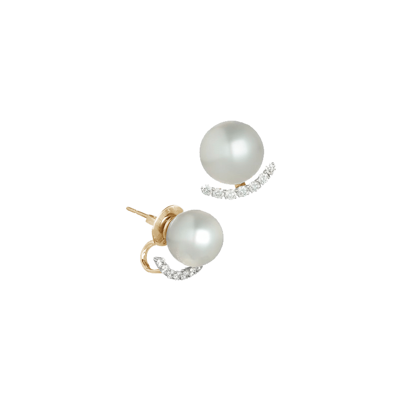 Pearl & Diamond Timele Frame Earrings