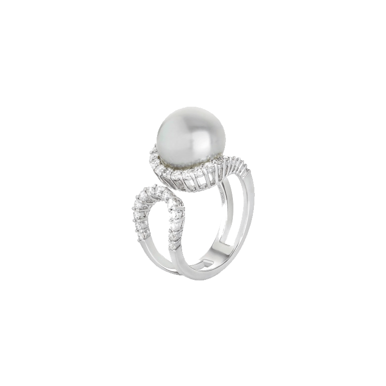 White South Sea Pearl & Diamond Infinity Ring