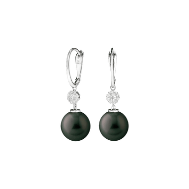 Black South Sea Pearl and Diamond Earrings