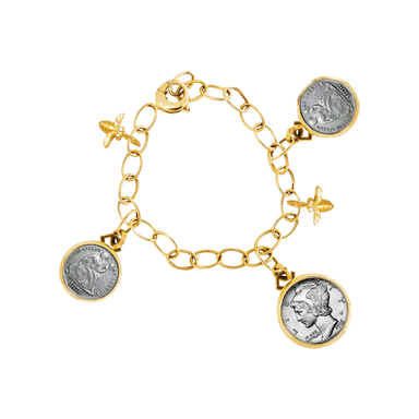 Coin, Butterfly and Bee Bracelet