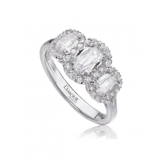 18K White Gold 3-Stone Halo Ring