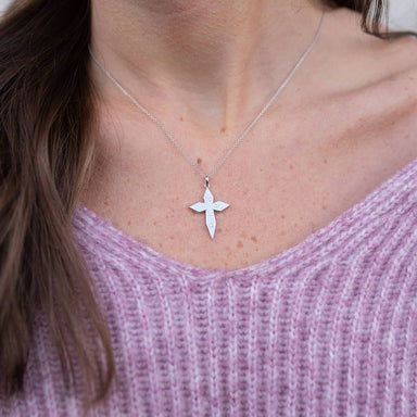 Scattered Diamond Cross Necklace