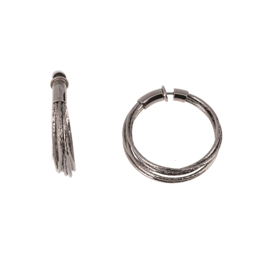 DNA SPRING SMALL HOOP EARRINGS - RUTHENIUM
